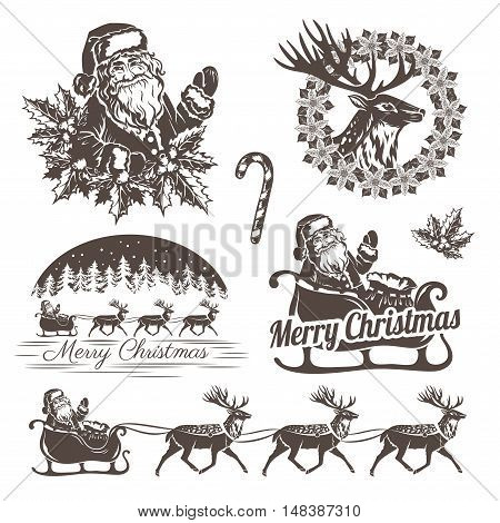 Christmas decorations in stencil style. Holiday emblems and labels for your design. Santa Claus reindeer christmas tree and gifts.