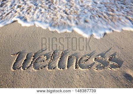 Vacation concept. Word wellness written on the sand near the sea.