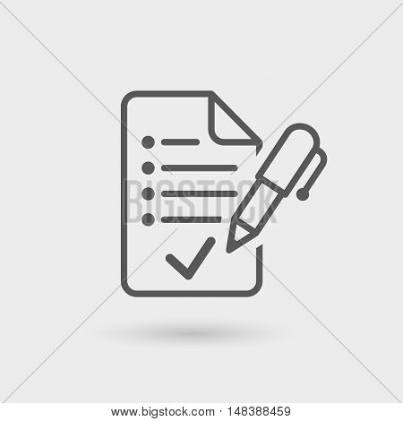 agreement contract line icon with shadow for bussines relationship black color