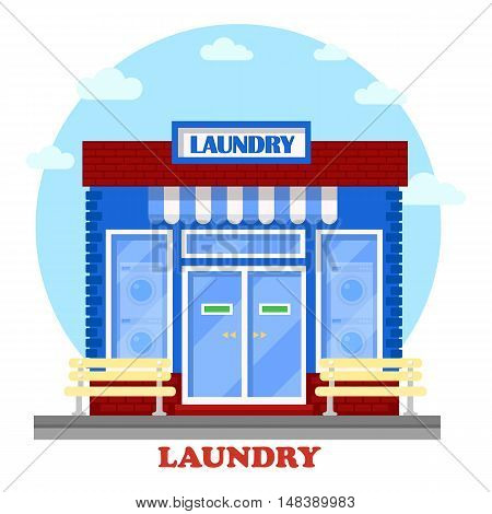 Laundry or washhouse building with wash machines on showcase. Facade of structure for self-service cleaning clothing with laundromat.