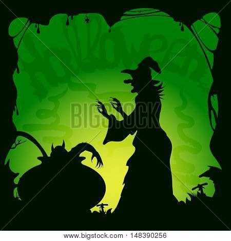 Halloween theme, cauldron with demon and old witch on green background, illustration.
