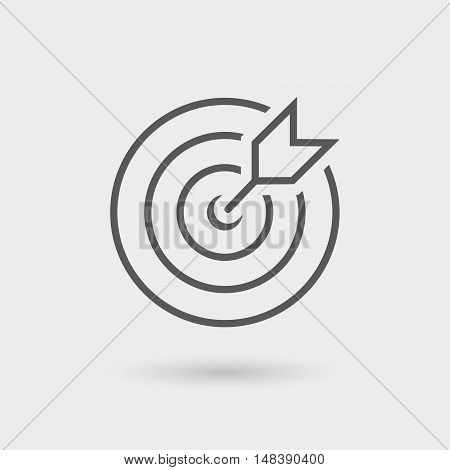 dartboard success icon isolated line in black color with shadow
