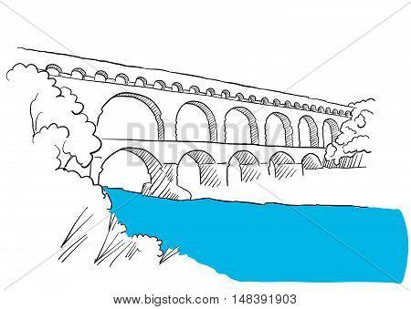 Gard Du Pont Languedoc, Nimes France, Sketch