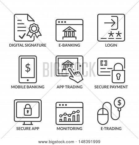 e-banking icons set thin line black color