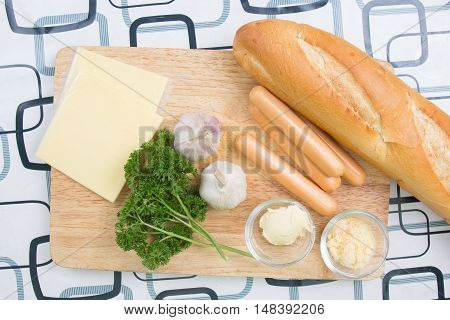 Ingredient of sausage bread / cooking sausage bread concept