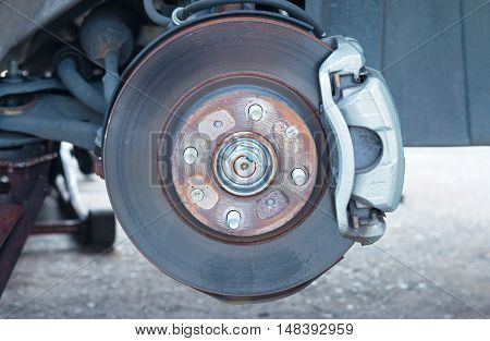 Close-up detail front disc brake on car