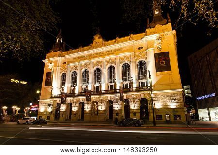 Berlin Germany - May 11 2013: Facade of Theater des Westens at night time located on Kant street in Charlottenburg district