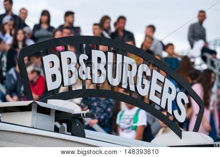 Food track bbq and burgers signboard