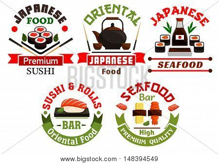 Oriental Japanese food restaurant icons. Sushi, rolls, seafood, salmon, sashimi, wasabi, steamed rice, bamboo, chopsticks, tea Oriental cuisine poster for menu card signboard leaflet flyer
