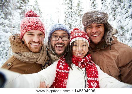 Friends in winterwear