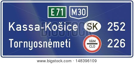 Informatory Hungarian road sign - Distance to destinations in other countries. Vam - Clo means customs in Slovakian. poster