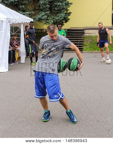 St. Petersburg, Russia - 13 August, The game with two balls,13 August, 2016. Performance of the ball virtuosos on Krestovsky Island in St. Petersburg.