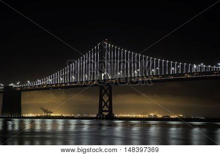 A night scene of the new bay bridge