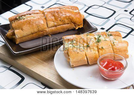sausage bread with ketchop / cooking sausage bread concept