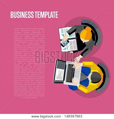 Business template with space for text. Top view workspace background, vector illustration. Overhead view of business people working with financial documents on perpl background. Business workplace.