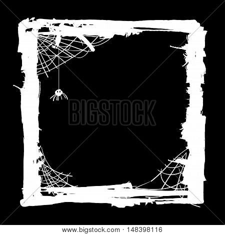 Halloween abstract background with spiders in web. Grunge Halloween Party template. Vector
