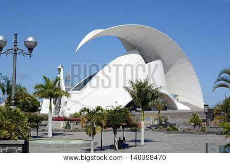 SANTA CRUZ, TENERIFE - APRIL 17, 2016: Auditorio de Tenerife in Tenerife, Spain. It was designed by architect Santiago Calatrava Valls, Santa Cruz Port, Tenerife