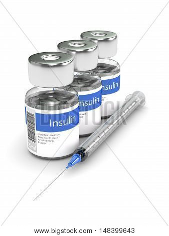 3D Rendering Of Insulin Vials And Syringe Isolated Over White