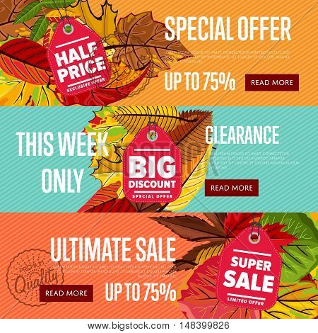 Autumn seasonal sale website templates, vector illustration. Ultimate sale this week only. Best price posters on color background with autumn leaves. Incredible sale proposition