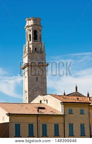 Bell Tower (unfinished work - 75 m.) of the Cathedral of Verona (UNESCO world heritage site) - Santa Maria Matricolare - Veneto Italy poster