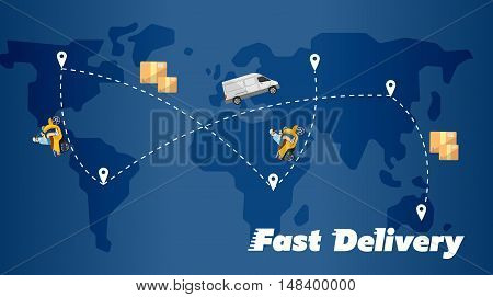 Delivery truck and scooter biker on background of blue world map with routes. Fast delivery banner, vector illustration. Courier service. Worldwide shipping and moving. International postage concept.