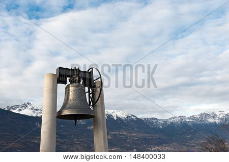 The bell of peace merged with the guns of the 19 nations that took part in the First World War - Rovereto Trento Italy