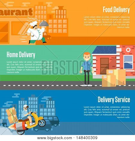 Delivery boy on scooter with cardboard boxes, postman with parcels near house, chef in uniform running with restaurant cloche. Food and home delivery service horizontal banners, vector illustration