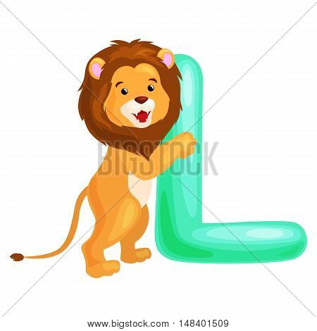 lion animal and letter L for kids abc education in preschool.Cute animals letters english alphabet. Cartoon animals alphabet for learning letters vector illustration. Single letter with wild animal lion