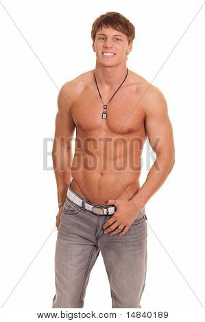Shirtless Man In Jeans