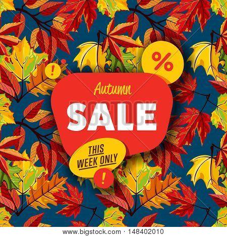 Autumn sale vector banner. Promo autumn offer. Autumn sale sticker. Autumn discount sticker. Discount tag. Autumn special offer banner. Sale sign. Web sale sticker. Autumn sale label. Ad sticker. Sale sticker template. Design autumn ad offer. Autumn sale.