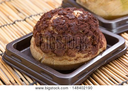 Delicious Chocolate choux cream on the tray