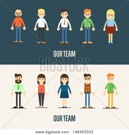 Our team. Business team. Cartoon teamwork people characters. Social network of teamwork people. Social media and social network people connect. Teamwork people together vector. Business team and teamwork concept. Teamwork people partnership