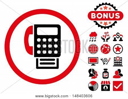 Fax icon with bonus images. Vector illustration style is flat iconic bicolor symbols, intensive red and black colors, white background.