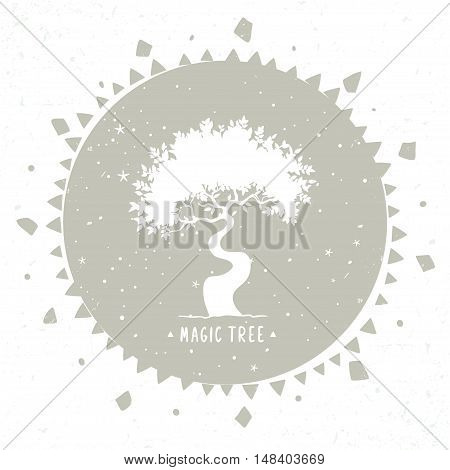silhouette of beautiful stylized tree in ethnic circle. vector illustration