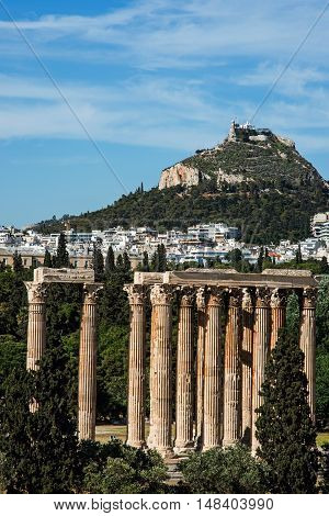 Temple of the Olympian Zeus in Athens Greece