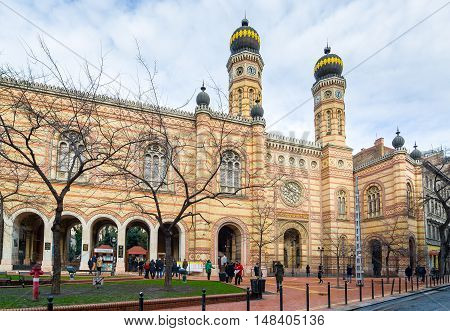 BUDAPEST, HUNGARY - FEBRUARY 21, 2016: Exterior of the Great Synagogue in Dohany Street. The Dohany Street Synagogue or Tabakgasse Synagogue is the largest synagogue in Europe. Budapest, Hungary.