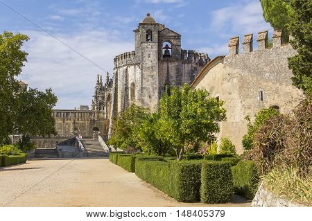 background landscape beautiful ancient medieval Templars monastery, Church Convento de Cristo in Tomar, Portugal