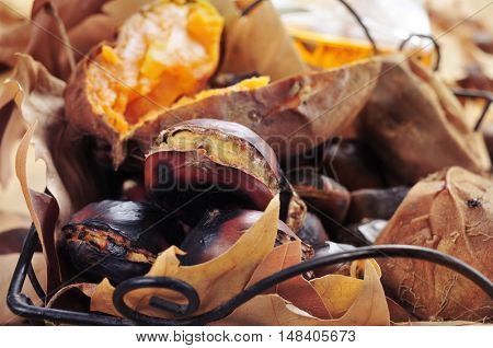 some roasted chestnuts and some roasted sweet potatoes in a metal basket with autumn leaves, on a rustic wooden table