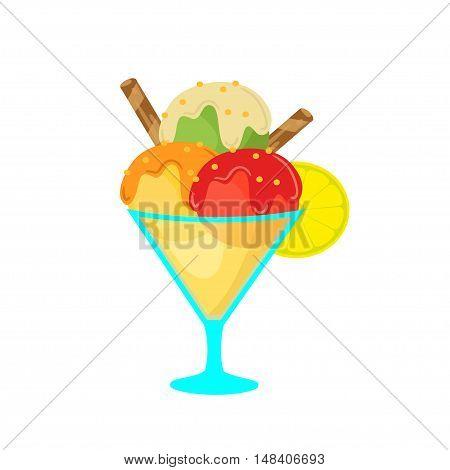Strawberry ice cream with lemon on white background. Vector illustration