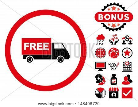 Free Shipment icon with bonus pictogram. Vector illustration style is flat iconic bicolor symbols, intensive red and black colors, white background.