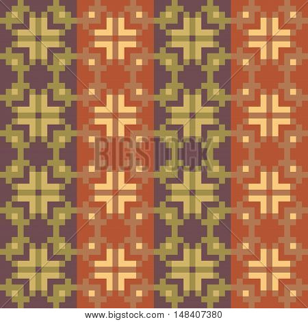 Geometric striped seamless brown stitching pattern in desaturated colors. Pixel art. Vector illustration