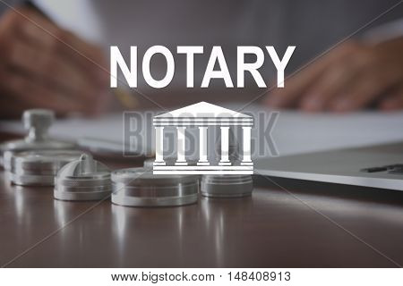NOTARY. Metal ink pads and stamps on notary public table