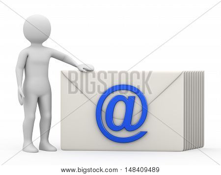 The man with correspondence on white background, 3d rendering