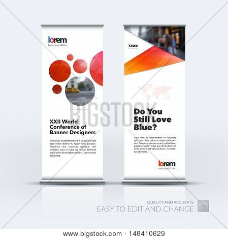 Vector set of modern roll Up Banner stand design with abstract geometric elements, circles with overlap effect for business and finance. Brochure and presentation for exhibition.