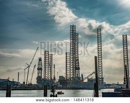 Oil rigs in Esbjerg harbor in Denmark