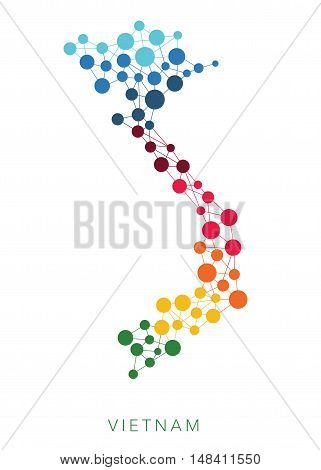 dotted texture Vietnam multicolored abstract vector background