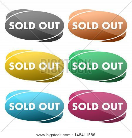 Sold out vector icon. Six colors on white background