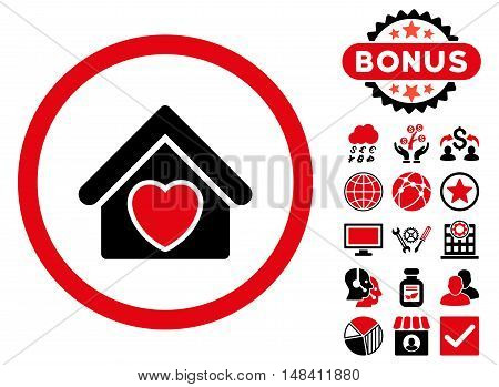 Hospice icon with bonus images. Vector illustration style is flat iconic bicolor symbols, intensive red and black colors, white background.
