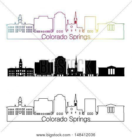 Colorado Springs skyline linear style with rainbow in editable vector file