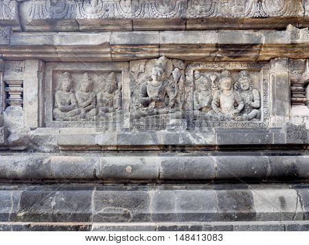 Ancient stone carving of Prambanan Temple the 9th-century Hindu temple compound in Central Java Indonesia and is also a UNESCO world heritage site.